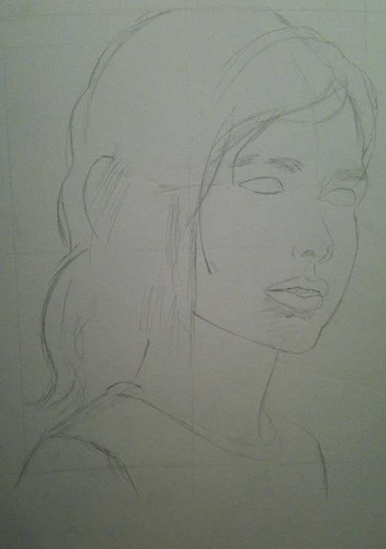 Realistic Pencil Drawing of Ellie from the Videogame The Last of Us. Work in Progress Image 1, by Artist Sophie Lawson