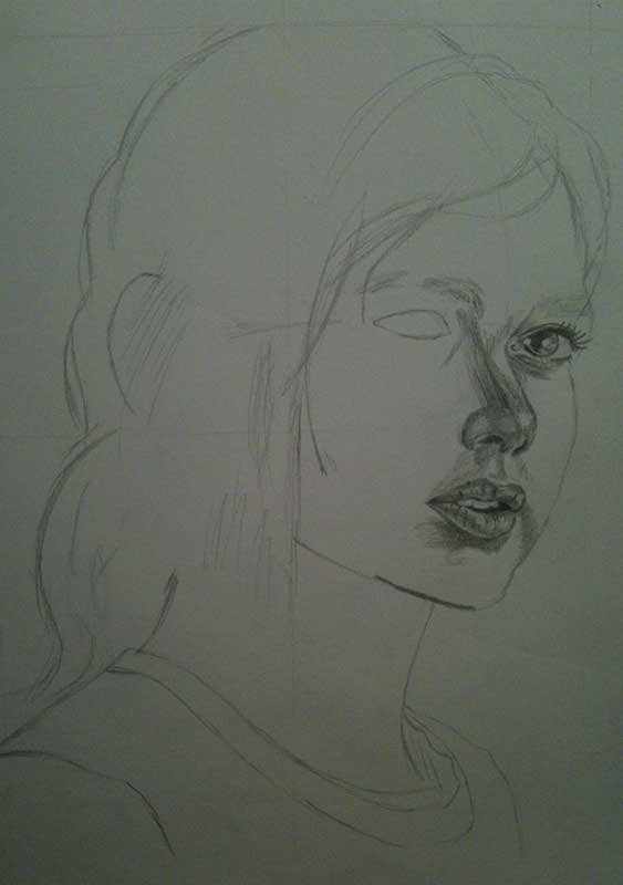 Realistic Pencil Drawing of Ellie from the Videogame The Last of Us. Work in Progress Image 2, by Artist Sophie Lawson