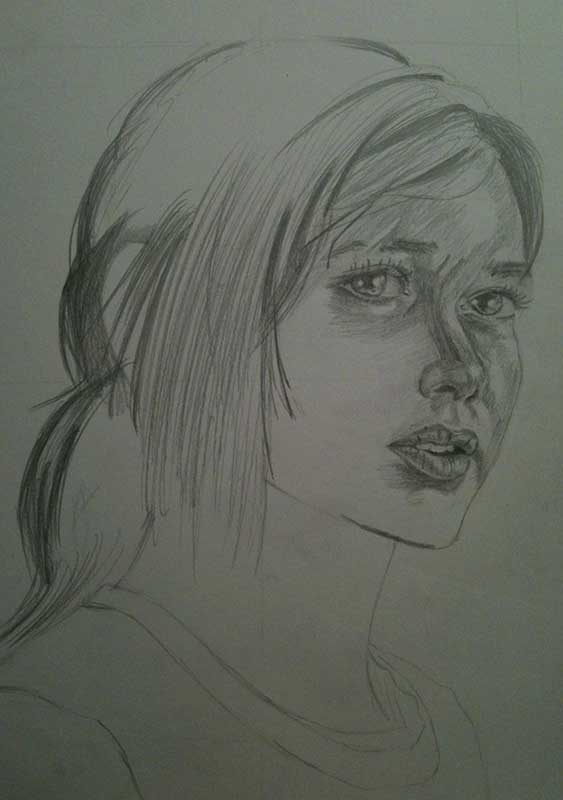 Realistic Pencil Drawing of Ellie from the Videogame The Last of Us. Work in Progress Image 3, by Artist Sophie Lawson