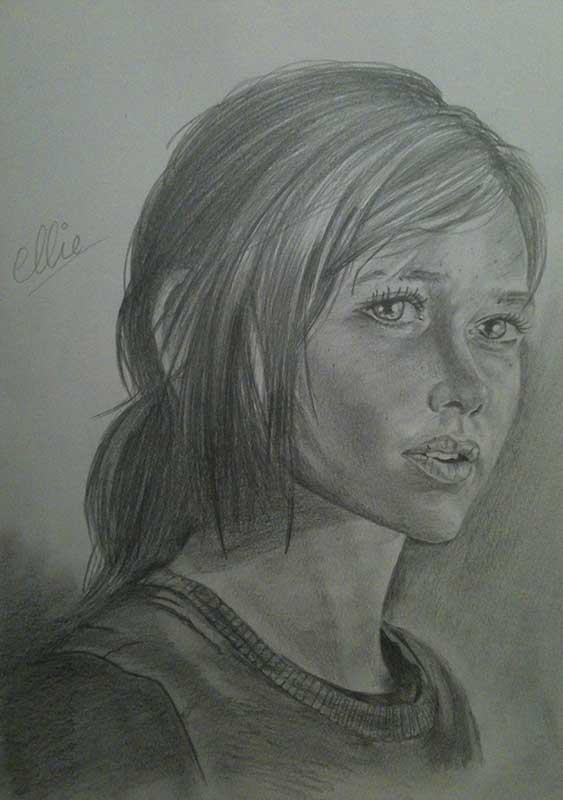Realistic Pencil Drawing of Ellie from the Videogame The Last of Us. Work in Progress Image 4, by Artist Sophie Lawson