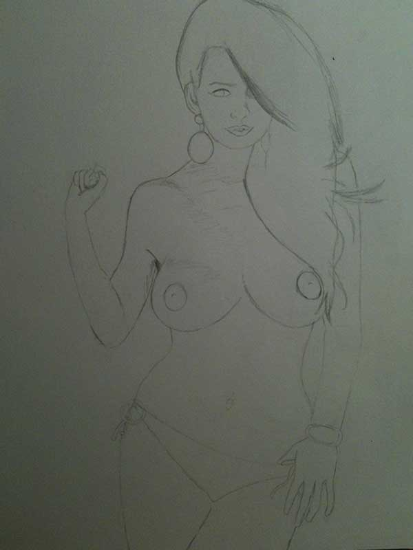 Realistic Pencil Drawing of Model Holly Peers Topless. Work in Progress Image 1, by Artist Sophie Lawson