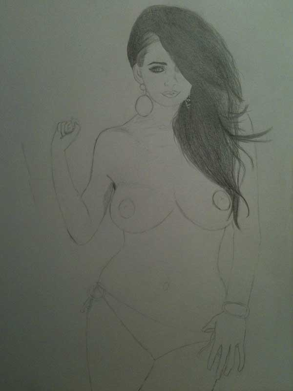 Realistic Pencil Drawing of Model Holly Peers Topless. Work in Progress Image 2, by Artist Sophie Lawson