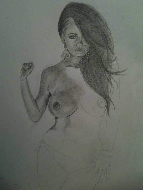 Realistic Pencil Drawing of Model Holly Peers Topless. Work in Progress Image 3, by Artist Sophie Lawson