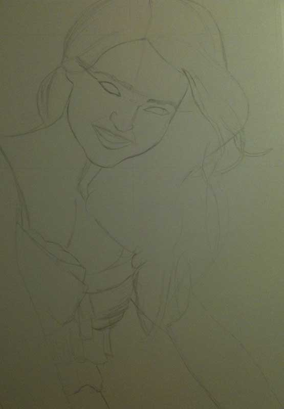 Realistic Pencil Drawing of Victoria's Secret model Miranda Kerr. Work in Progress Image 1, by Artist Sophie Lawson