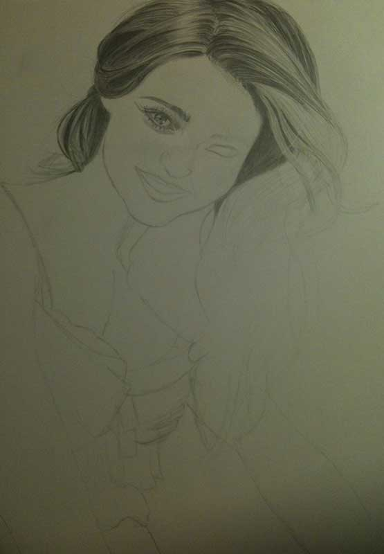 Realistic Pencil Drawing of Victoria's Secret model Miranda Kerr. Work in Progress Image 2, by Artist Sophie Lawson