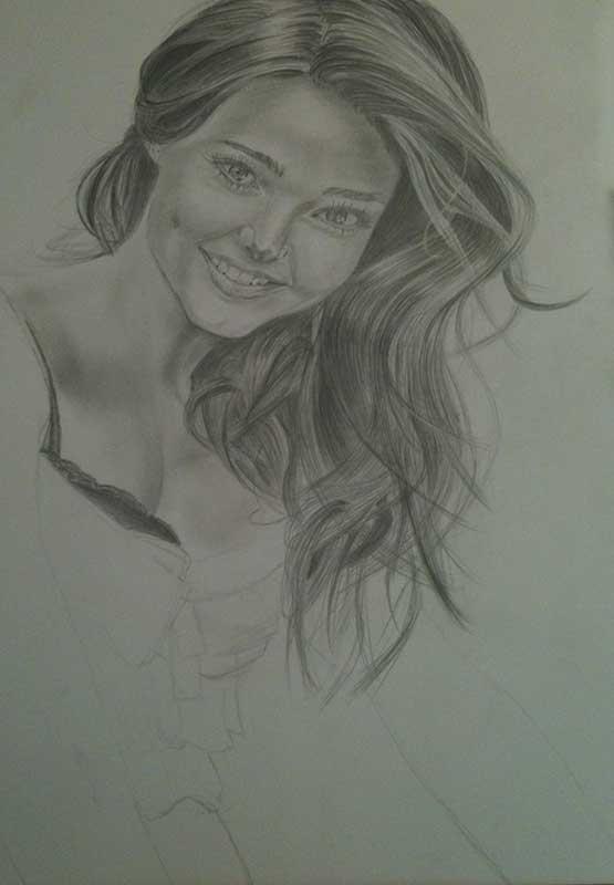 Realistic Pencil Drawing of Victoria's Secret model Miranda Kerr. Work in Progress Image 3, by Artist Sophie Lawson