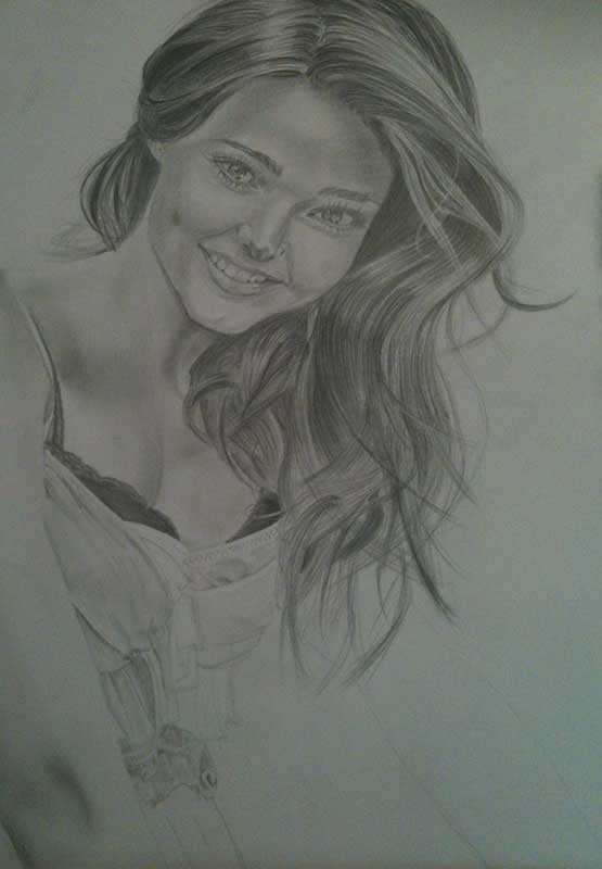 Realistic Pencil Drawing of Victoria's Secret model Miranda Kerr. Work in Progress Image 4, by Artist Sophie Lawson