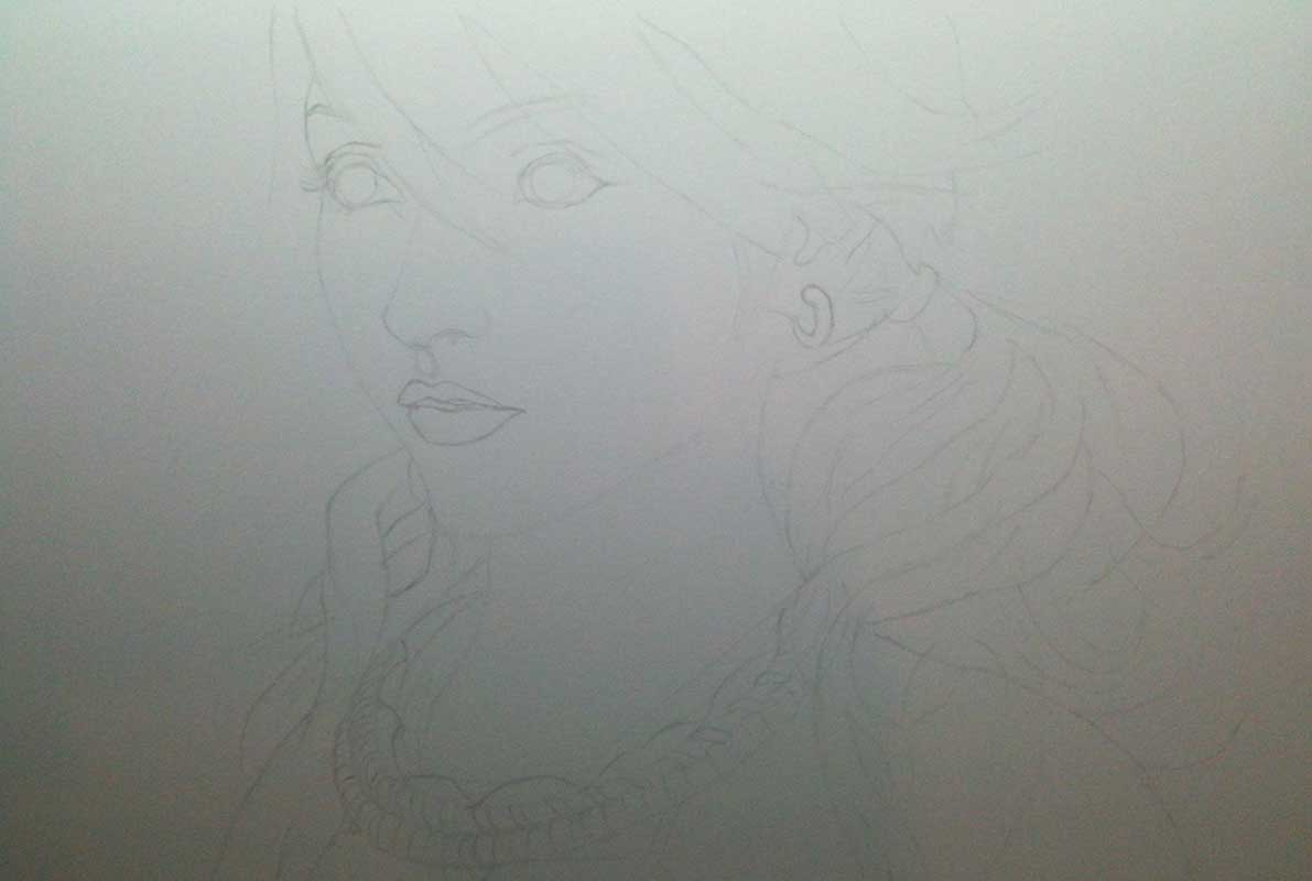 Realistic Pencil Drawing of Vanille from Final Fantasy XIII. Work in Progress Image 1, by Artist Sophie Lawson