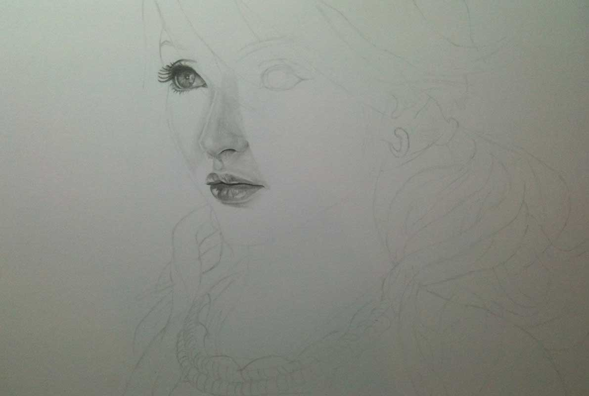 Realistic Pencil Drawing of Vanille from Final Fantasy XIII. Work in Progress Image 2, by Artist Sophie Lawson