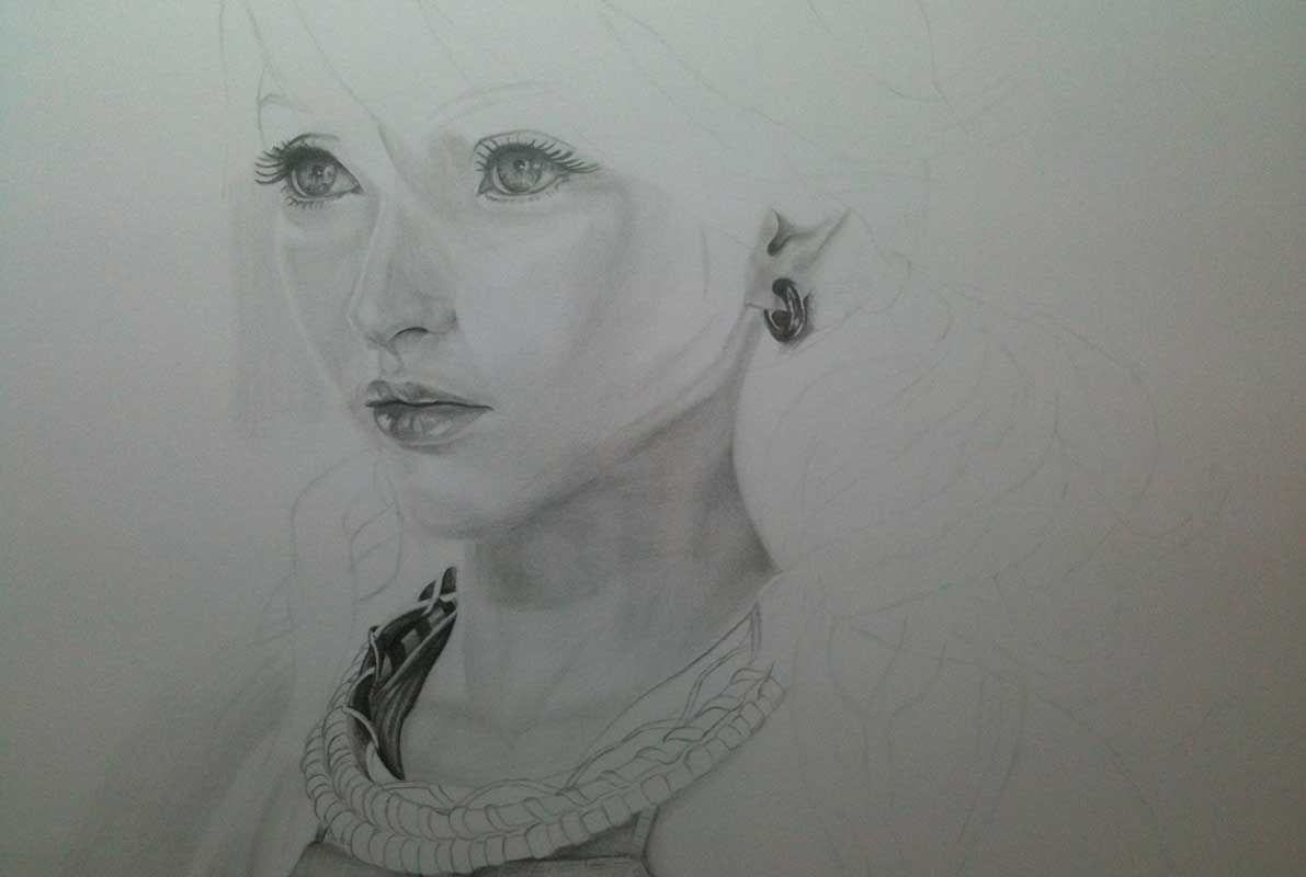 Realistic Pencil Drawing of Vanille from Final Fantasy XIII. Work in Progress Image 3, by Artist Sophie Lawson