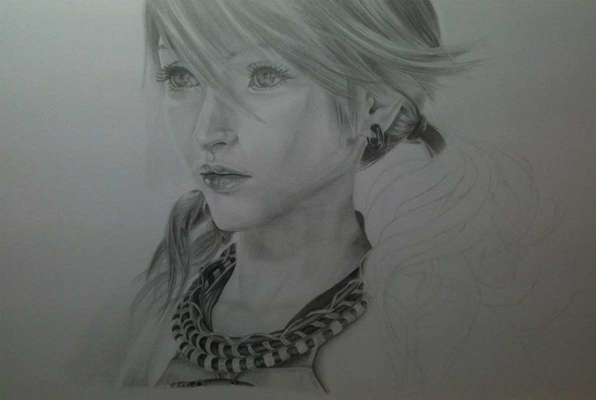 Realistic Pencil Drawing of Vanille from Final Fantasy XIII. Work in Progress Image 4, by Artist Sophie Lawson
