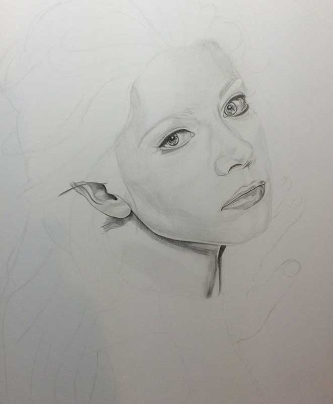 Realistic Pencil Drawing of Actress Michelle Trachtenberg. Work in Progress Image 2, by Artist Sophie Lawson