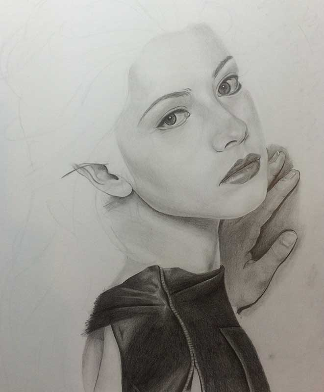 Realistic Pencil Drawing of Actress Michelle Trachtenberg. Work in Progress Image 3, by Artist Sophie Lawson