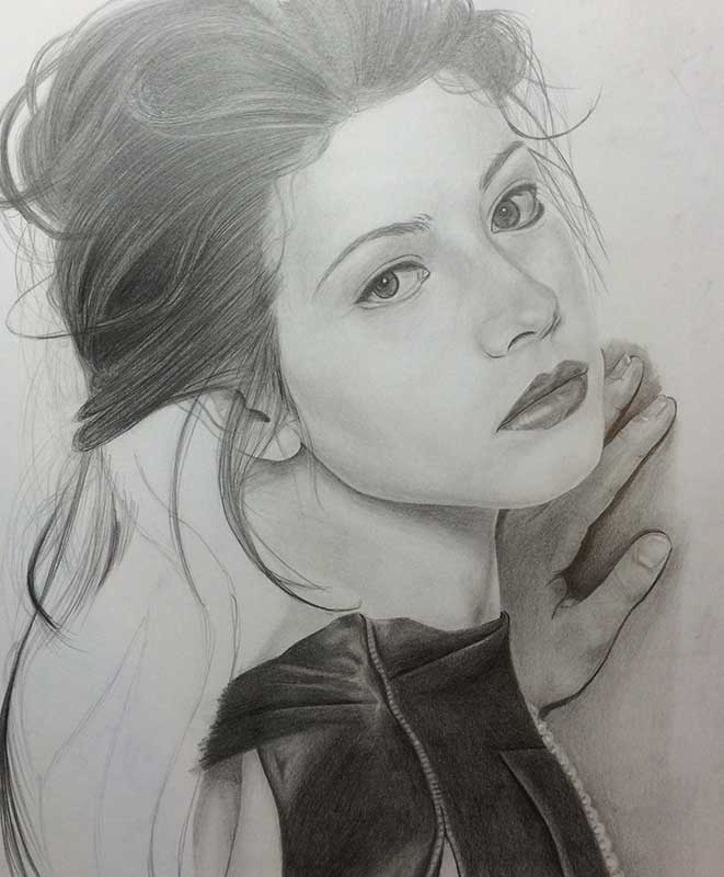 Realistic Pencil Drawing of Actress Michelle Trachtenberg. Work in Progress Image 4, by Artist Sophie Lawson