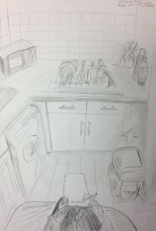 One of the book's Projects - A drawing of my old flat's Kitchen, aww ... memories! by Artist Sophie lawson