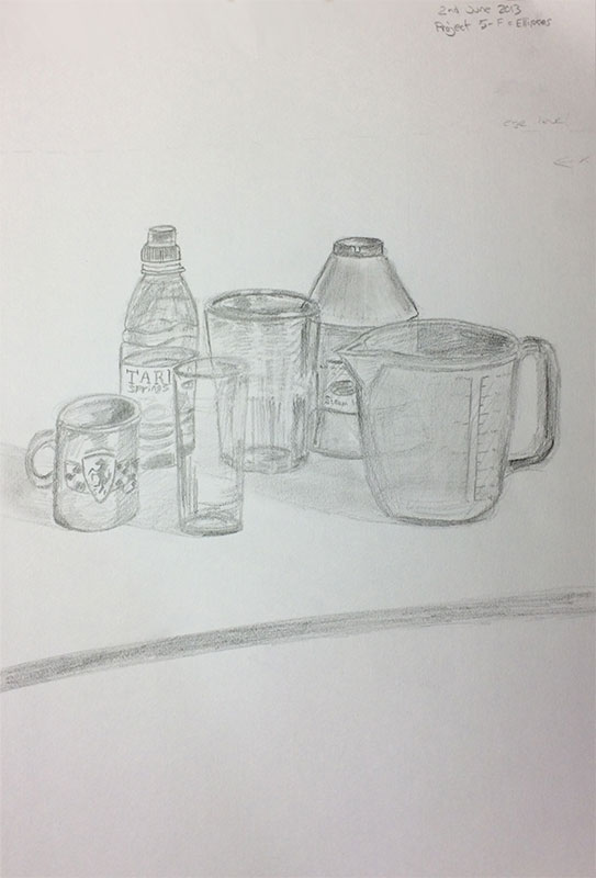 One of the book's Projects - A still life drawing, by Artist Sophie lawson