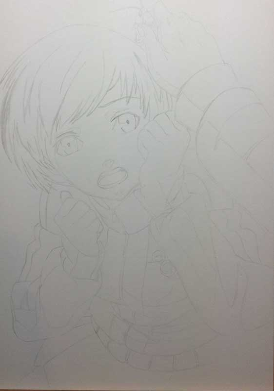 Realistic Pencil Drawing of Chie Satonaka from the video game Persona 4 Golden, by Transgender Artist Sophie Lawson