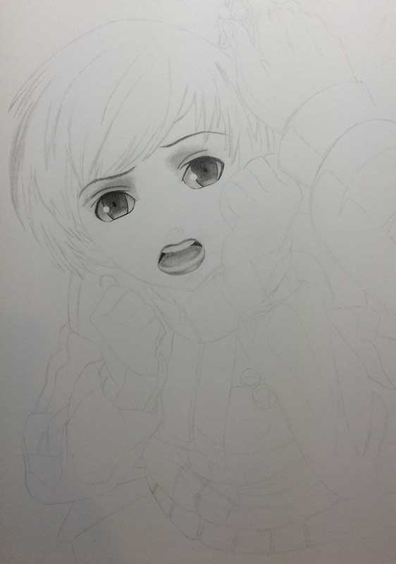 Realistic Pencil Drawing of Chie Satonaka from Persona 4. Work in Progress Image 2, by Artist Sophie Lawson