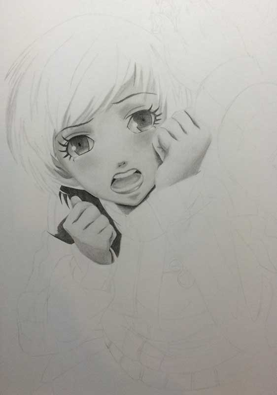 Realistic Pencil Drawing of Chie Satonaka from Persona 4. Work in Progress Image 3, by Artist Sophie Lawson