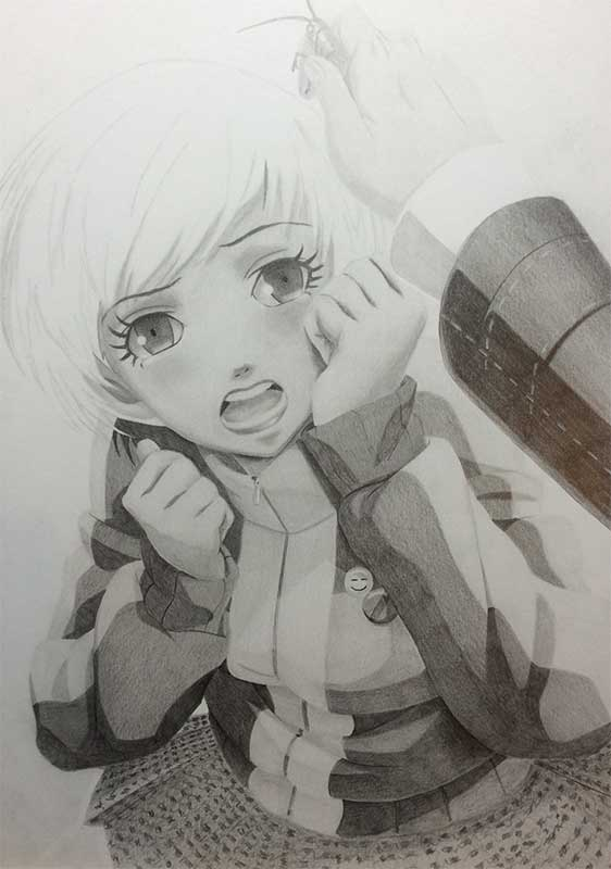 Realistic Pencil Drawing of Chie Satonaka from Persona 4. Work in Progress Image 4, by Artist Sophie Lawson