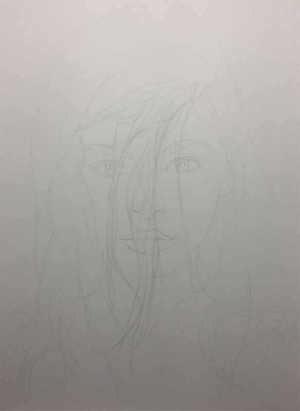 Realistic Pencil Drawing of Actress Kristin Laura Kreuk. Work in Progress Image 1, by Artist Sophie Lawson