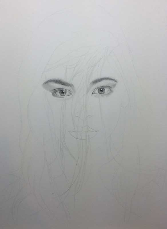 Realistic Pencil Drawing of Actress Kristin Laura Kreuk. Work in Progress Image 2, by Artist Sophie Lawson