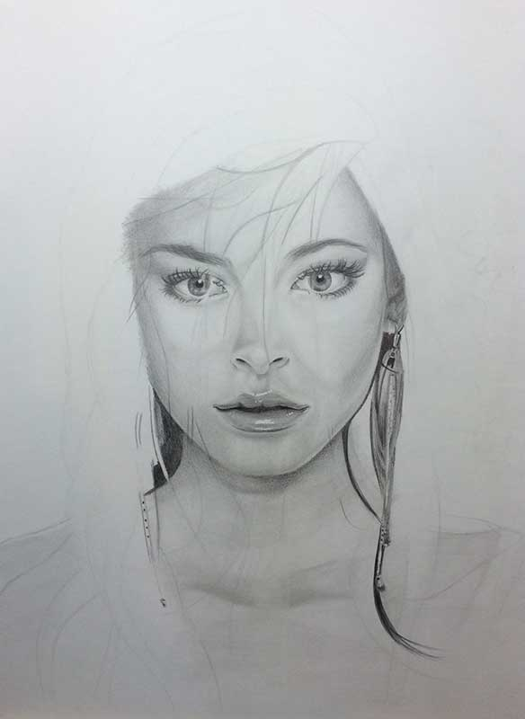 Realistic Pencil Drawing of Actress Kristin Laura Kreuk. Work in Progress Image 3, by Artist Sophie Lawson