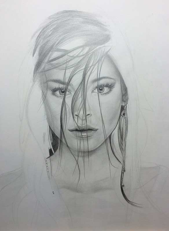 Realistic Pencil Drawing of Actress Kristin Laura Kreuk. Work in Progress Image 4, by Artist Sophie Lawson
