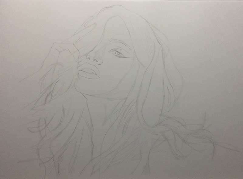 Realistic Pencil Drawing of Victoria's Secret model Adriana Lima Work in Progress Image 1, by Transgender Artist Sophie Lawson