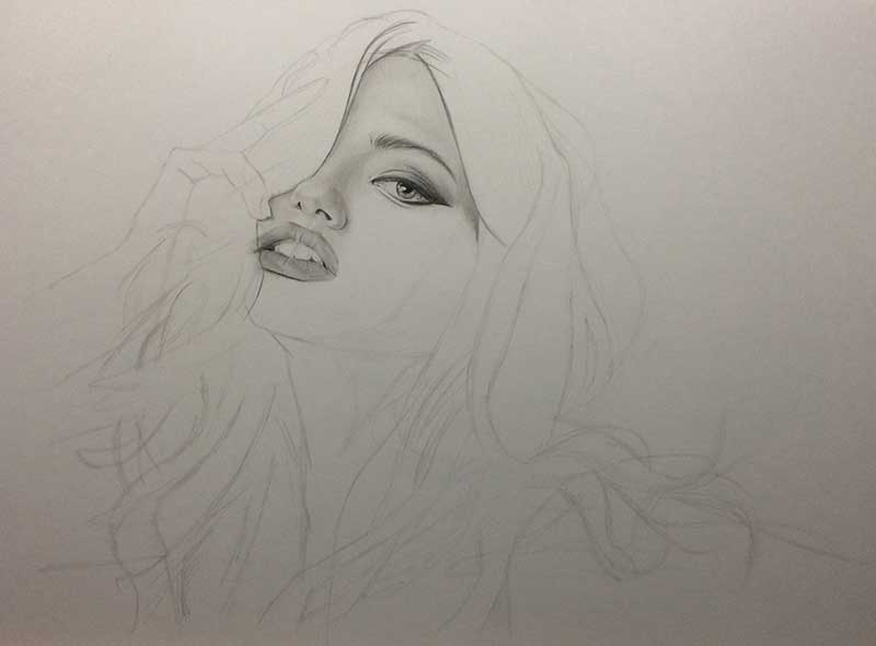 Realistic Pencil Drawing of Victoria's Secret model Adriana Lima. Work in Progress Image 2, by Artist Sophie Lawson