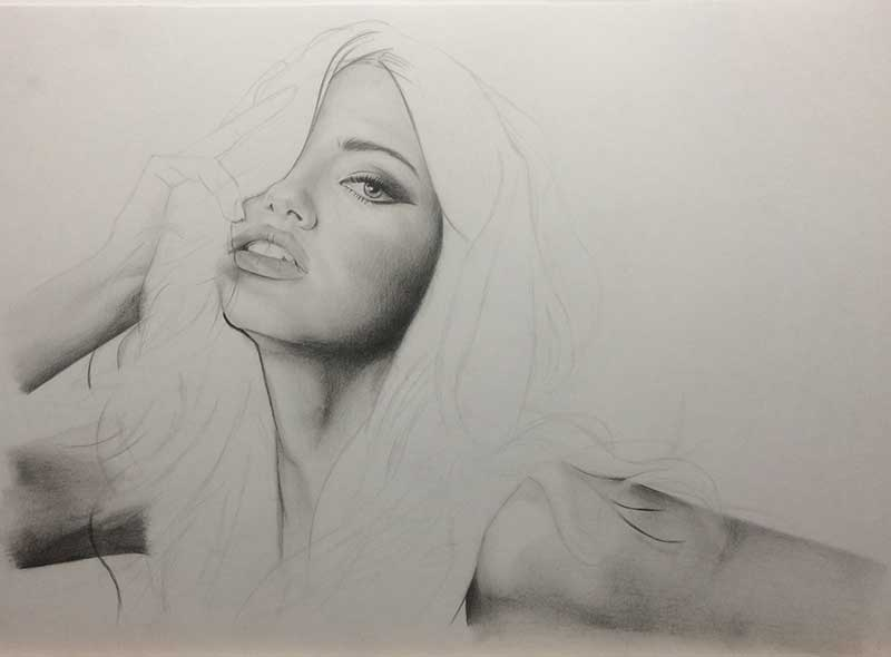 Realistic Pencil Drawing of Victoria's Secret model Adriana Lima Work in Progress Image 3, by Transgender Artist Sophie Lawson