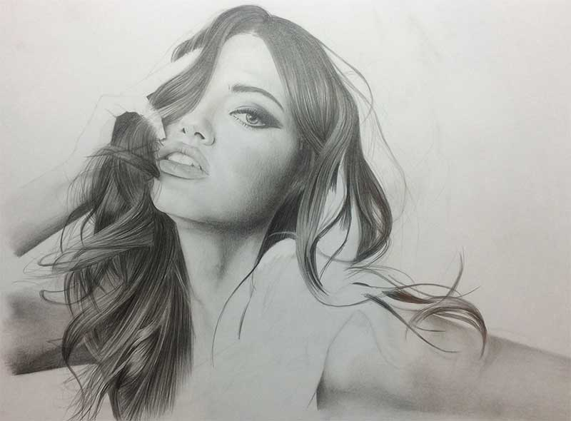 Realistic Pencil Drawing of Victoria's Secret model Adriana Lima Work in Progress Image 4, by Transgender Artist Sophie Lawson
