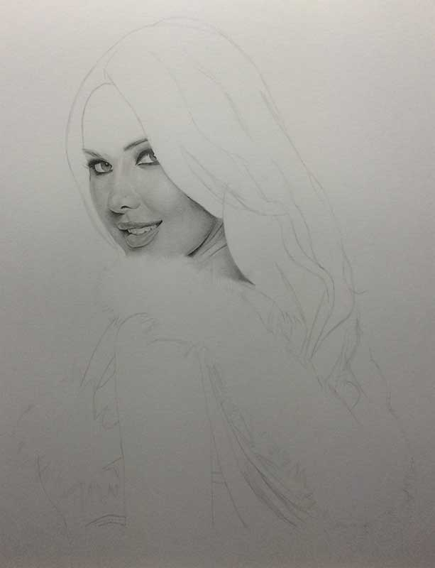 Realistic Pencil Drawing of a Sexy Santa Model, Work In Progress Image 1, by Artist Sophie Lawson