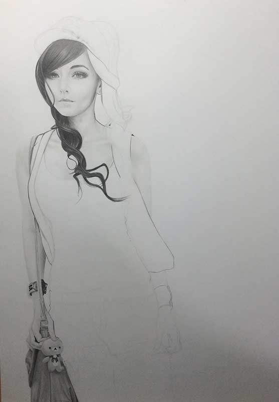 Realistic Pencil Drawing of Cosplayer Amy Thunderbolt Cosplaying Touko Hilda from Pokemon Work in Progress Image 3, by Artist Sophie Lawson