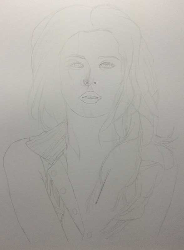 Realistic Pencil Drawing of Singer Cheryl Cole, Work in Progress Image 1, by Artist Sophie Lawson