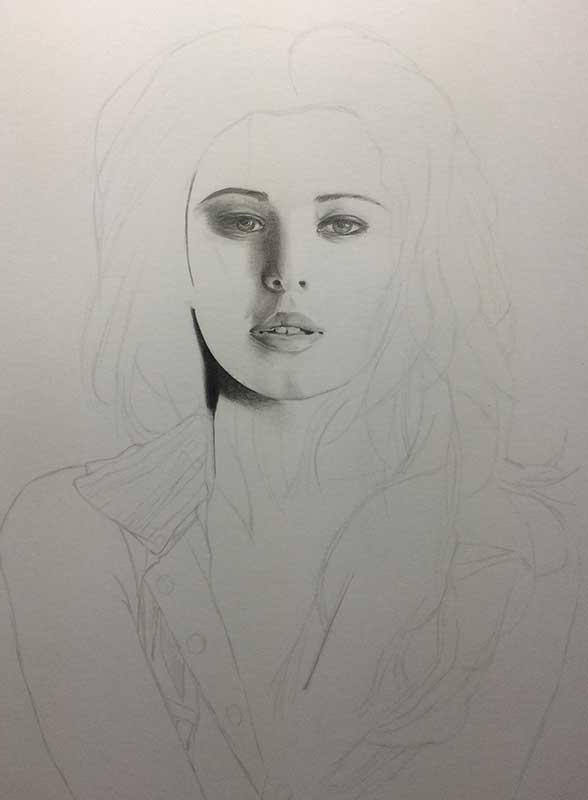Realistic Pencil Drawing of Singer Cheryl Cole. Work in Progress Image 2, by Artist Sophie Lawson