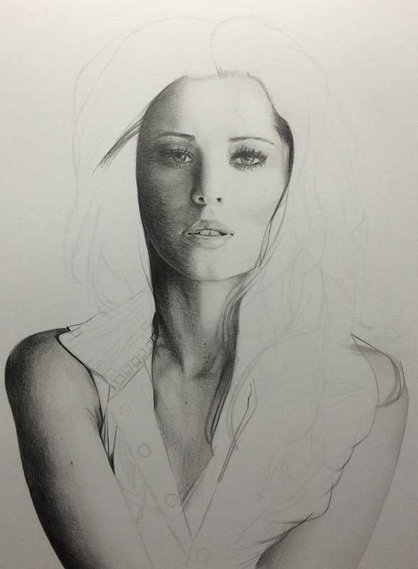Realistic Pencil Drawing of Singer Cheryl Cole, Work in Progress Image 3, by Artist Sophie Lawson