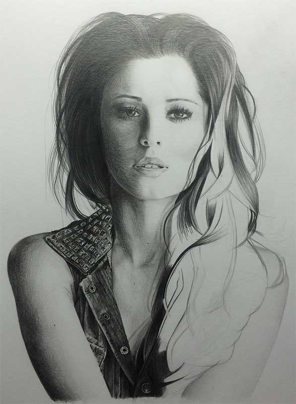 Realistic Pencil Drawing of Singer Cheryl Cole, Work in Progress Image 4, by Artist Sophie Lawson