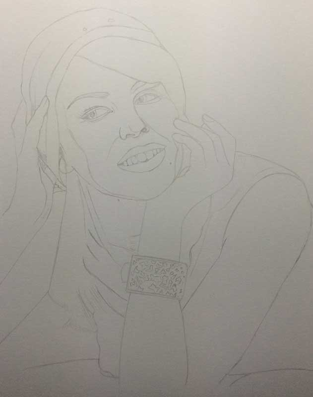 Realistic Pencil Drawing of Singer and Actress Kylie Minogue Work in Progress Image 1, by Artist Sophie Lawson