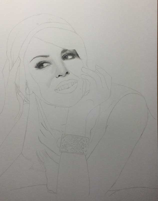 Realistic Pencil Drawing of Singer and Actress Kylie Minogue Work in Progress Image 2, by Artist Sophie Lawson