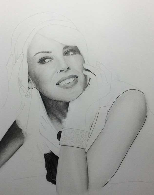 Realistic Pencil Drawing of Singer and Actress Kylie Minogue Work in Progress Image 3, by Artist Sophie Lawson