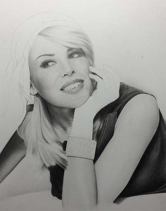 Realistic Pencil Drawing of Singer and Actress Kylie Minogue.. Work in Progress Image 4, by Artist Sophie Lawson