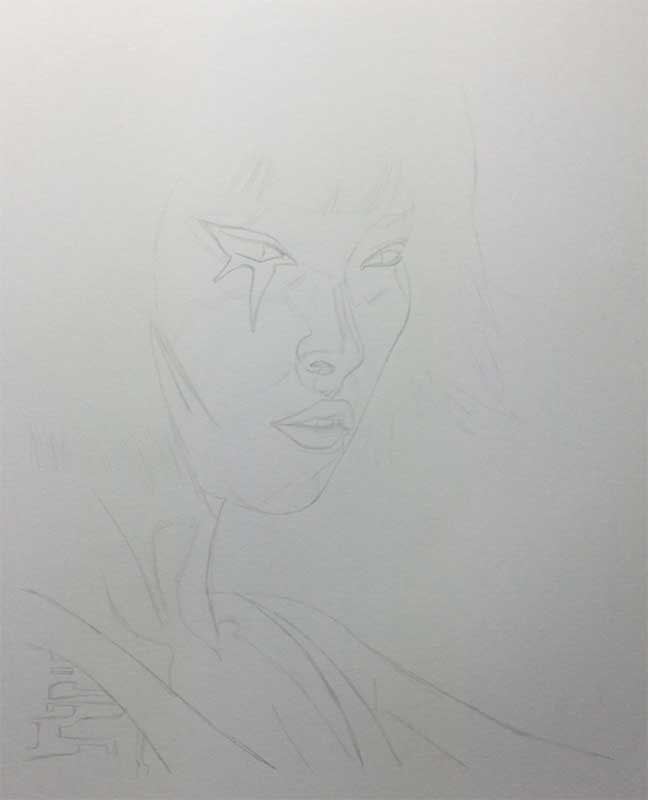 Faith from the video game Mirror's Edge Realistic Pencil Drawing. Work in Progress Image 1, by Transgender Artist Sophie Lawson
