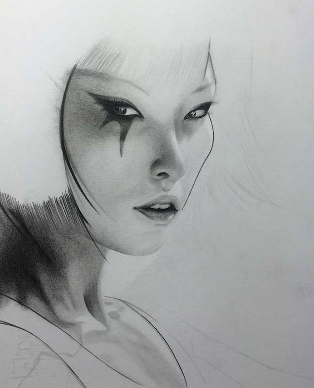 Faith from the video game Mirror's Edge Realistic Pencil Drawing. Work in Progress Image 3, by Transgender Artist Sophie Lawson