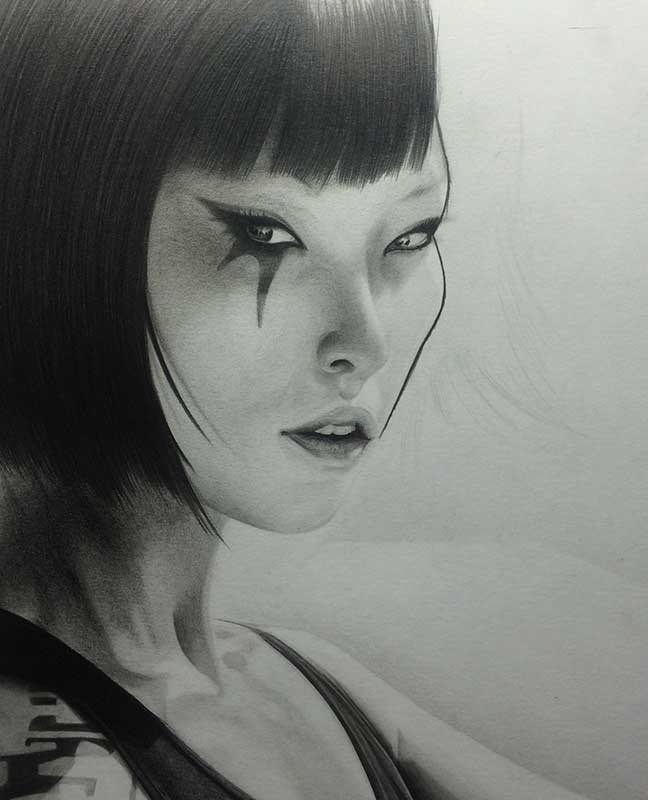 Faith from the video game Mirror's Edge Realistic Pencil Drawing. Work in Progress Image 4, by Transgender Artist Sophie Lawson