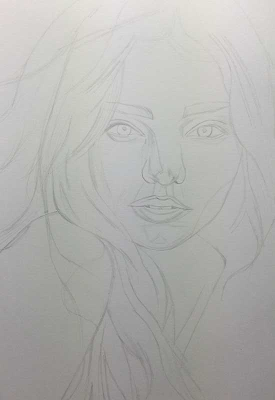 Victoria's Secret model Miranda Kerr, Realistic Pencil Drawing. Work in Progress image 1, by Artist Sophie Lawson