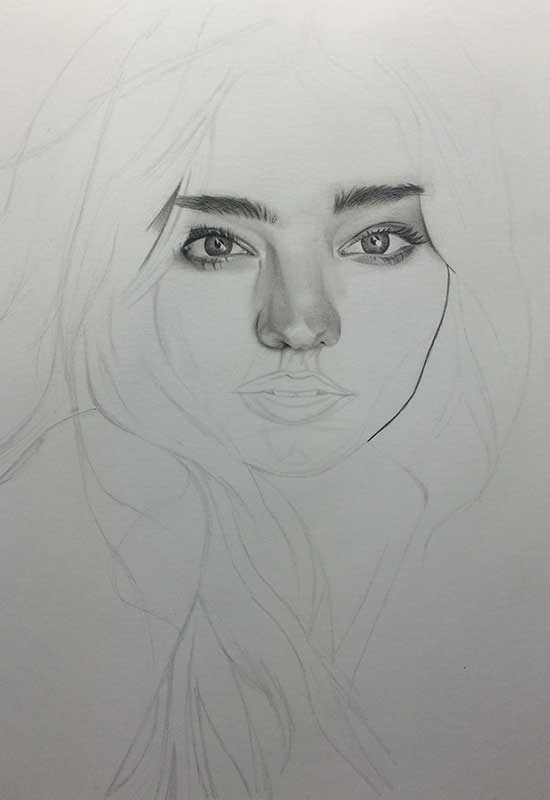 Victoria's Secret model Miranda Kerr, Realistic Pencil Drawing. Work in Progress image 2, by Artist Sophie Lawson