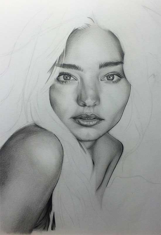 Victoria's Secret model Miranda Kerr, Realistic Pencil Drawing. Work in Progress image 3, by Artist Sophie Lawson