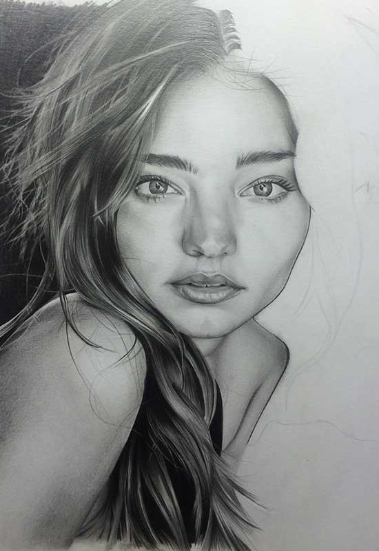 Victoria's Secret model Miranda Kerr, Realistic Pencil Drawing. Work in Progress image 4, by Artist Sophie Lawson