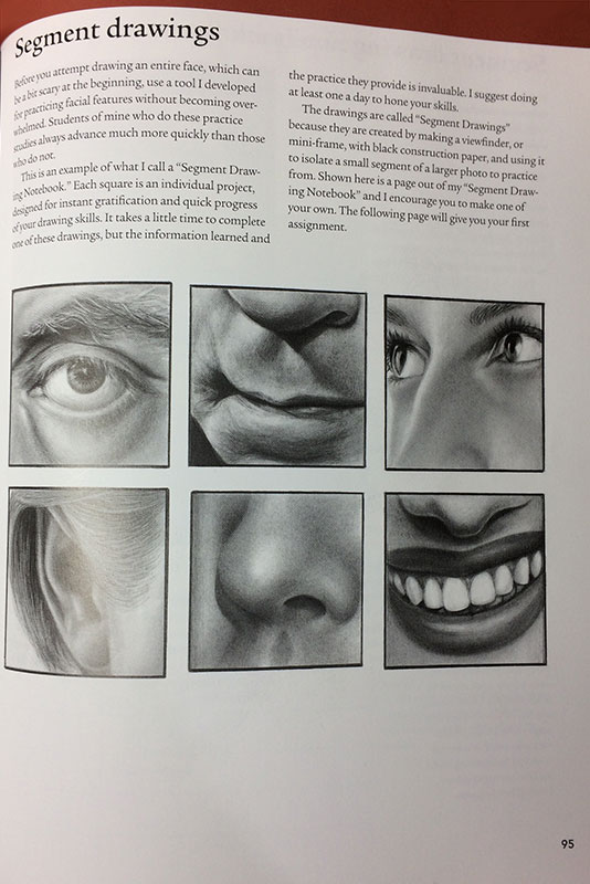 Page 95 - Lee Hammond introduces us to the amazing exercise of Segment Drawing, HOW TO DRAW LIFELIKE PORTRAITS FROM PHOTOGRAPHS by Lee Hammond